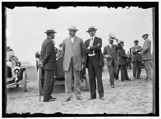 WRIGHT FLIGHTS, FORT MYER, VA, JULY 1909. SPECTATORS: ROBERT BACON; SEC. OF WAR DICKINSON; SEN. ELIHU ROOT