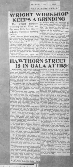 Wright Workshop Keeps Grinding & Hawthorne Street Is In Gala Attire [The Dayton Herald, 13 May 1909]
