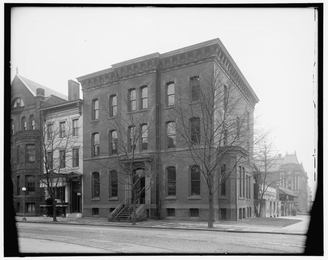[1600 block of H Street, N.W., Washington, D.C., showing Handicraft School, at left, 1622 H Street, and American Red Cross building at right, 1624 H Street, with 17th Street corner leading to old Corcoran Art Gallery in distance]
