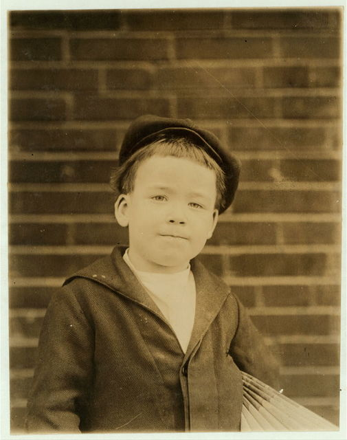6 yr. old Eddie. Regular newsie. Brothers all sell (see 1464). No relation but an interesting resemblance.  Location: St. Louis, Missouri.