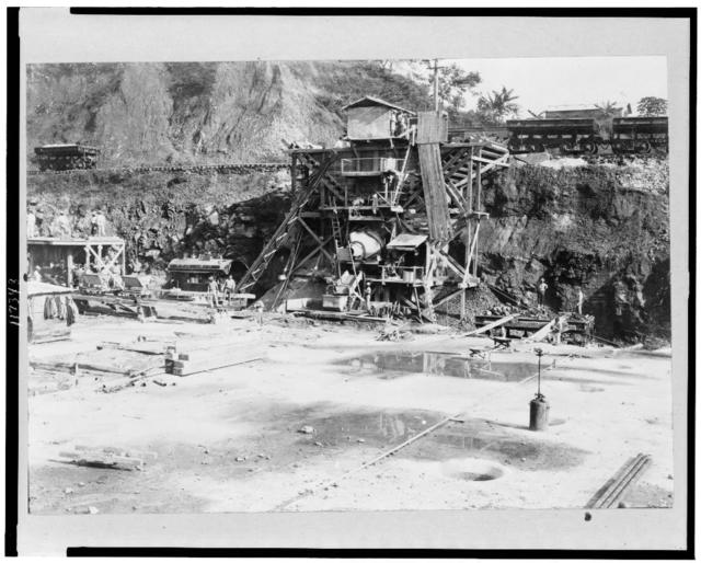 [A concrete mixer at work at Pedro Miguel Lock site, Panama Canal]
