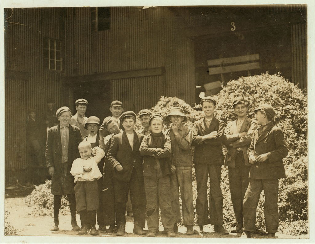 A group of workers at Greenabaum's Cannery, Seaford, Del. 1 Child is 7 years of age. 4 Children are 12 years of age. 1 Child is 13 years of age. 4 Children are 15 years of age. 3 of these children are working 1 year. 1 of these children is working 2 years. 3 of these children are working 3 years. 2 of these children are working 4 years. 1 of these children is working 5 years. 1 of these children is working 6 years. Greenabaum's Cannery is considered one of the largest in the United States. A few years ago they canned 1,000,000 cans of peas in 4 days. This information was given by the bookkeeper of the Cannery. Edward F. Brown, Investigator. Seaford, Del. June 2, 1910.  Location: Seaford, Delaware / Photo by Lewis W. Hine.