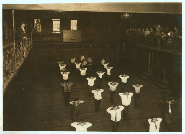 A gym. class, Henry St. Settlement, New York City. May 1910.  Location: New York, New York (State)