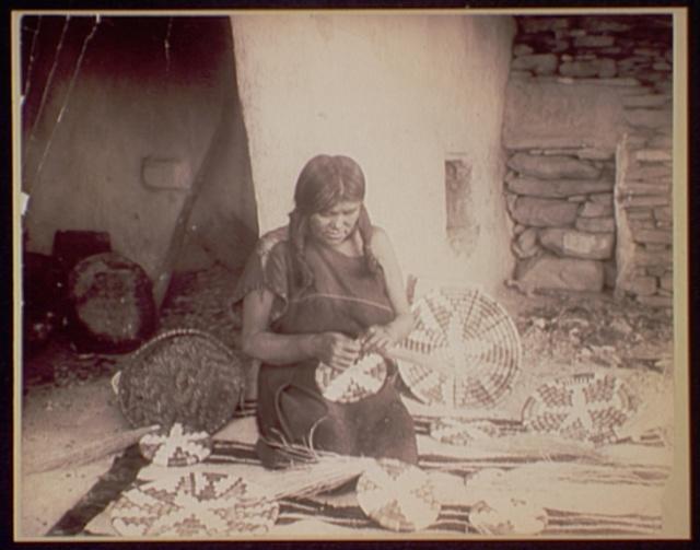 A Hopi basket weaver