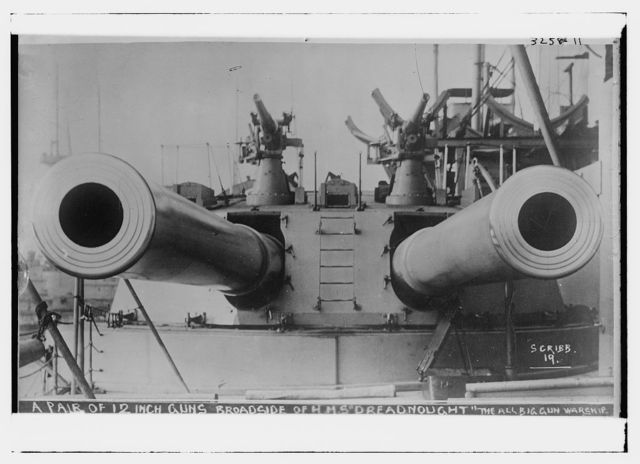 "A pair of 12"" guns -- Broadside of HMS DREADNOUGHT -- the all big gun warship"