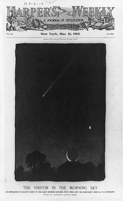 A visitor in the morning sky: an impression of Halley's Comet in the early morning heavens, with Venus and the decrescent moon as its attendants