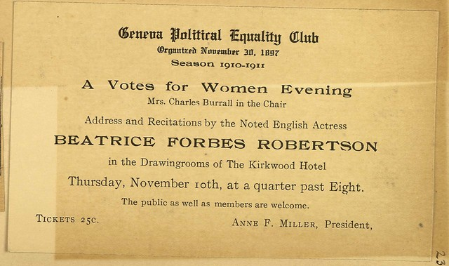 A Votes for Women Evening; Beatrice Forbes Robertson speaks at Geneva Political Equality Club