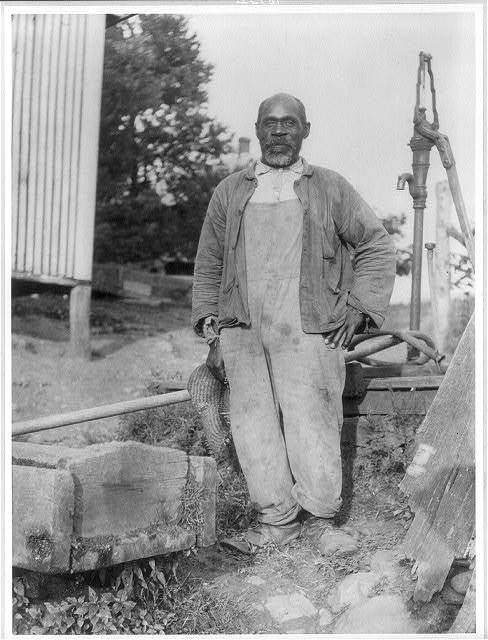 [African American man posed in a barnyard near Lewinsville, Va.]