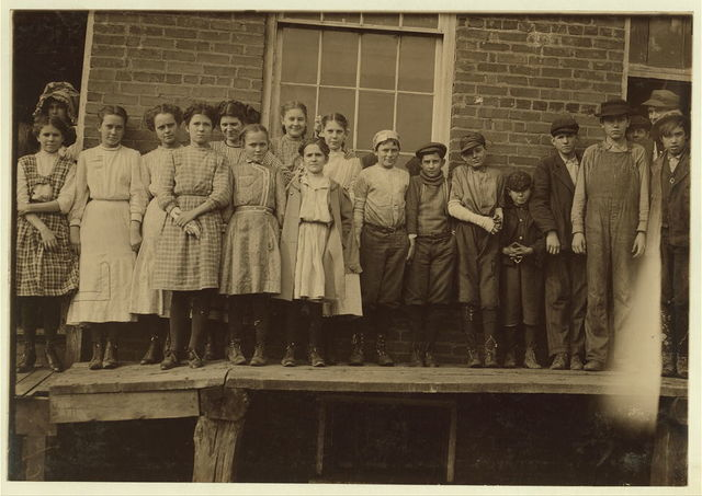 All (except smallest boy) work in Sweetwater Hosiery Co. He is a dinner carrier, but others like him and smaller work in these knitting mills of this region.  Location: Sweetwater, Tennessee.