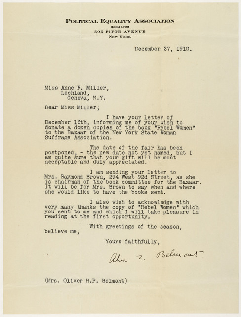 Alva Belmont to Anne Fitzhugh Miller; Mrs. Raymond Brown to Anne Fitzhugh Miller