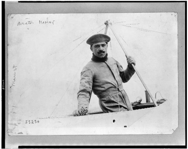"[Aviator Nick Mamer in Blériot plane, at end of ""Circuit de l'Est""]"
