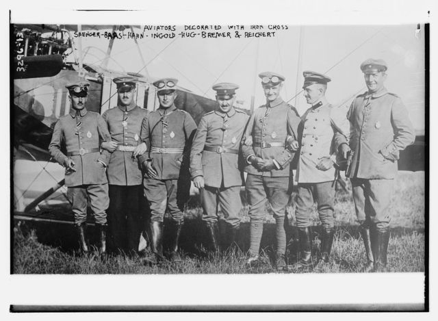 Aviators decorated with iron cross: Saenger -- Baas -- Hahn -- Ingold -- Hug -- Bremer -- Reichert