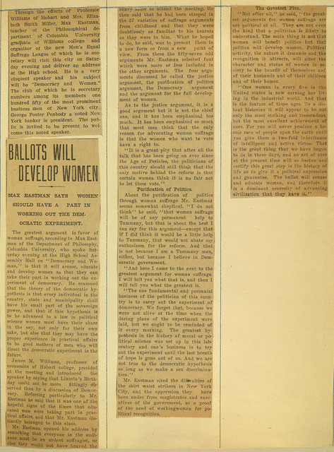 Ballots Will Develop Women: Max Eastman Lecture