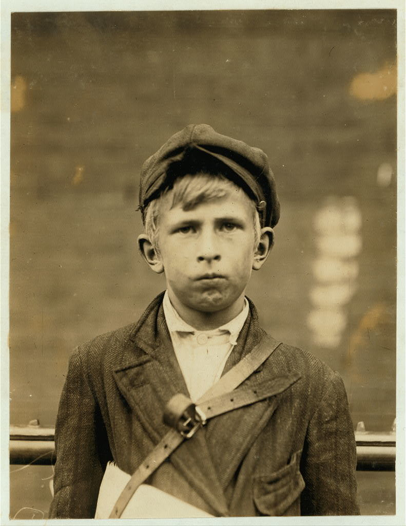 Barney Goldstein, 83 W. 5th St. Newsboy, 10 years of age. Selling newspapers 1 year. Average earnings 50 cents per week. Selling papers own choice. Don't smoke. Visits saloons. Works 5 hours per day. Investigator, Edward F. Brown.  Location: Wilmington, Delaware / Photo by Lewis W. Hine., May, 1910.
