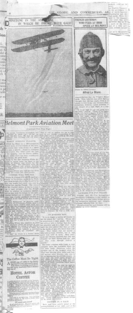 Belmont Park Aviation Meet (continued from first page) [The Globe & Commercial Aviation, 28 October 1910]