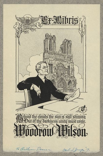 [Bookplate of Woodrow Wilson] / Carl S. Junge.
