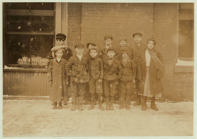 [Boys and Girls form Canneries, School #3, Buffalo, N.Y. 1) Josephine Oliveri, 19 Peacock St., 12 years old last summer. String beans in shed at Cherry Creek, N.Y. 2) Carmelo Combina, 8 years old last summer. Out-door work Cherry Creek, N.Y. 3) Lucy Gatte, 11 years old last summer. Shells peas and hulls strawberries. 4) Millie Izzio, 202 Carroll St., 12 years old last summer. Worked on peas, beans, berries, and tomatoes in the sheds. 5) Cassio Conjetta, 58 Lloyd St., 9 years old last summer. Snipped beans and worked on corn, berries and tomatoes in the sheds at Forestville, N.Y. 6) Tony Arara, 96 Washington St., Worked on berries, beans and peas in sheds North Collins, and Hamburg, N.Y. 13 years old last summer. 7) Lewis Maseari, 8 years old last summer. Worked on corn, beans, peas, and grapes, in the shed, at Forrestville, N.Y. 8) Angolio Mirandi, 8 years old last summer. Husked corn, peas and beans in sheds North Collins, N.Y. 9) Leonard Boscaglia, 62 Main St., 8 years old last summer. Worked on [...] 10) Lucy May, 8 years old last summer. Worked on beans, peas, and berries in the shed at Franklin. 11) Dan Quaratello, 22 State St., 12 years old last summer. Worked in sheds. 12) Mary Tagelliferio, 44 Perry St., 13 years old last summer. Worked in sheds. 13) Johgn Thomas, 71 State St., 14 years old last summer. Worked in sheds. 14) Angelio Jesso, 39 Main St., 12 years old last summer. Shed work. 15) Daniel George, 4 State St., 11 years old last summer. Worked in sheds. 16) Dominick Caggiana, 33 1/2 Burrell Place, 10 years old last summer. Shed work. 17) Carman Juggio, 43 Myrtle Ave., 10 years old last summer. Shed work. 18) Tony La Spazzi, 49 Scott St., 14 years old last summer.]  Location: [Buffalo, New York (State)].