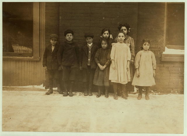 Boys and Girls form Canneries, School #3, Buffalo, N.Y. 1) Josephine Oliveri, 19 Peacock St., 12 years old last summer. String beans in shed at Cherry Creek, N.Y. 2) Carmelo Combina, 8 years old last summer. Out-door work Cherry Creek, N.Y. 3) Lucy Gatte, 11 years old last summer. Shells peas and hulls strawberries. 4) Millie Izzio, 202 Carroll St., 12 years old last summer. Worked on peas, beans, berries, and tomatoes in the sheds. 5) Cassio Conjetta, 58 Lloyd St., 9 years old last summer. Snipped beans and worked on corn, berries and tomatoes in the sheds at Forestville, N.Y. 6) Tony Arara, 96 Washington St., Worked on berries, beans and peas in sheds North Collins, and Hamburg, N.Y. 13 years old last summer. 7) Lewis Maseari, 8 years old last summer. Worked on corn, beans, peas, and grapes, in the shed, at Forrestville, N.Y. 8) Angolio Mirandi, 8 years old last summer. Husked corn, peas and beans in sheds North Collins, N.Y. 9) Leonard Boscaglia, 62 Main St., 8 years old last summer. Worked on [...] 10) Lucy May, 8 years old last summer. Worked on beans, peas, and berries in the shed at Franklin. 11) Dan Quaratello, 22 State St., 12 years old last summer. Worked in sheds. 12) Mary Tagelliferio, 44 Perry St., 13 years old last summer. Worked in sheds. 13) Johgn Thomas, 71 State St., 14 years old last summer. Worked in sheds. 14) Angelio Jesso, 39 Main St., 12 years old last summer. Shed work. 15) Daniel George, 4 State St., 11 years old last summer. Worked in sheds. 16) Dominick Caggiana, 33 1/2 Burrell Place, 10 years old last summer. Shed work. 17) Carman Juggio, 43 Myrtle Ave., 10 years old last summer. Shed work. 18) Tony La Spazzi, 49 Scott St., 14 years old last summer.  Location: Buffalo, New York (State)