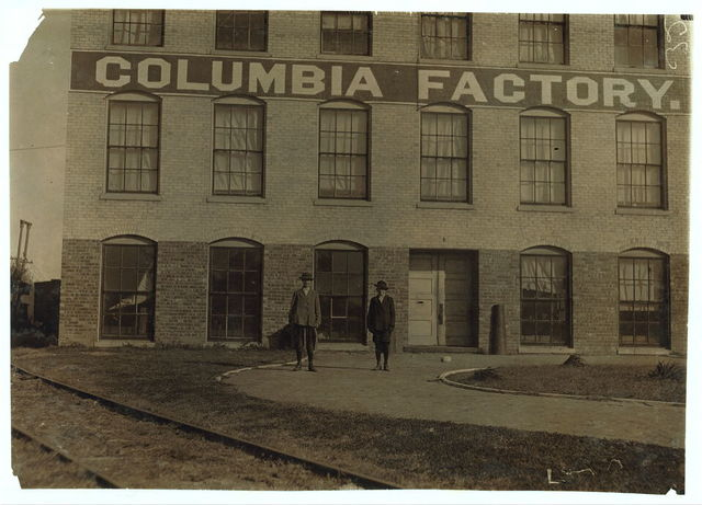 Boys working at Hamilton Brown Shoe Company. Hubert Homesley, 13 years old, said he had been working there over six months. He and 10 other boys had been laid off. Erba Conley said he was 15 but looked 12, said the boys had been laid off because there is a fine if boys under 14 work,.  Location: Columbia, Missouri.