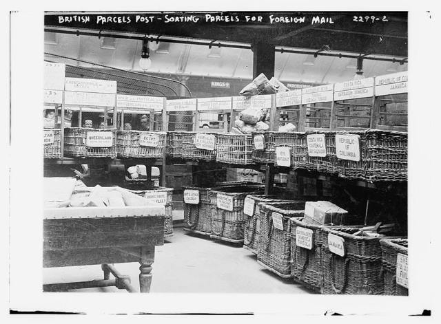 British Parcels Post-sorting parcels for foreign mail
