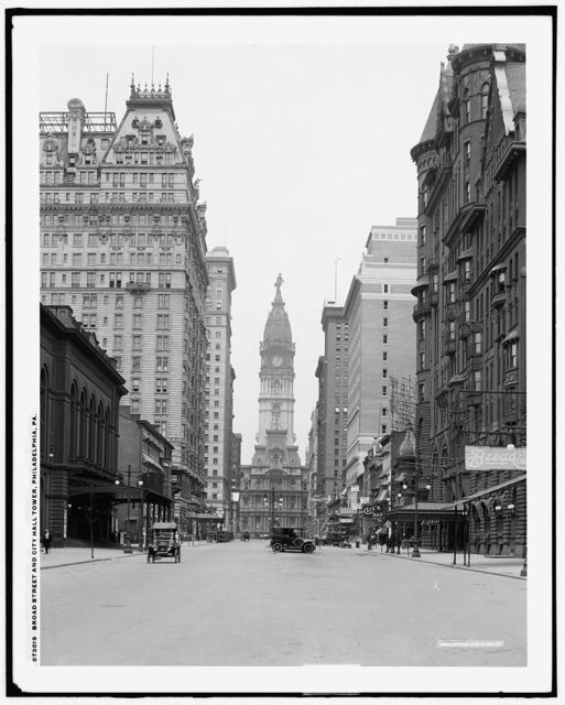 Broad Street and City Hall tower, Philadelphia, Pa.