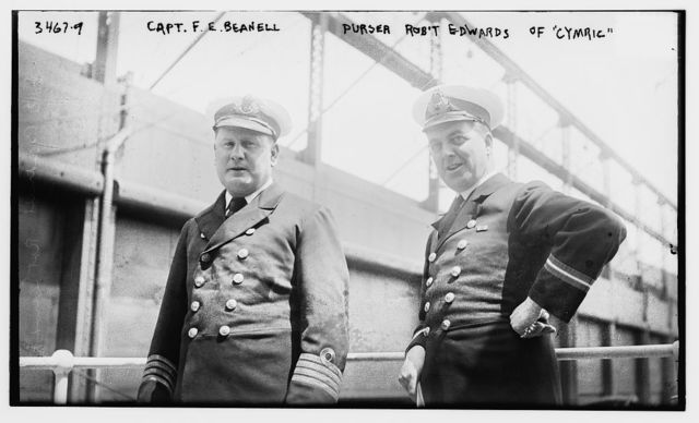 Capt. F.E. Beanell [i.e., Beadnell], Purser Robt' Edwards of CYMRIC