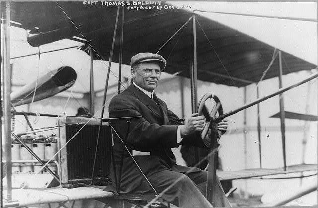 Capt. Thos. S. Baldwin, in cockpit of airplane