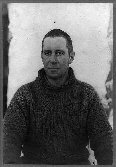 [Captain Lawrence E.G. Oates, half-length portrait, seated, facing front, during the British Antarctic Expedition]