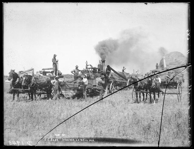 C.C. Blue's threshing crew near Lowell, Nebraska.