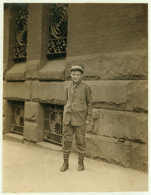 Charles Gibbon, Postal Telegraph Messenger. 14 years of age, 2 months in service. Don't smoke. Visits houses of prostitution, works form 8 A.M. to 6 P.M.  Location: Wilmington, Delaware.