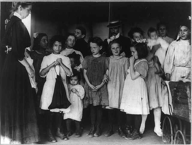 [Children awaiting health clinic doctor on recreation pier, N.Y.C.]