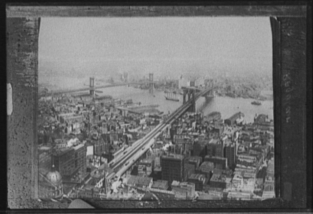 [Cityscape with East River and Brooklyn Bridge, New York, N.Y.]