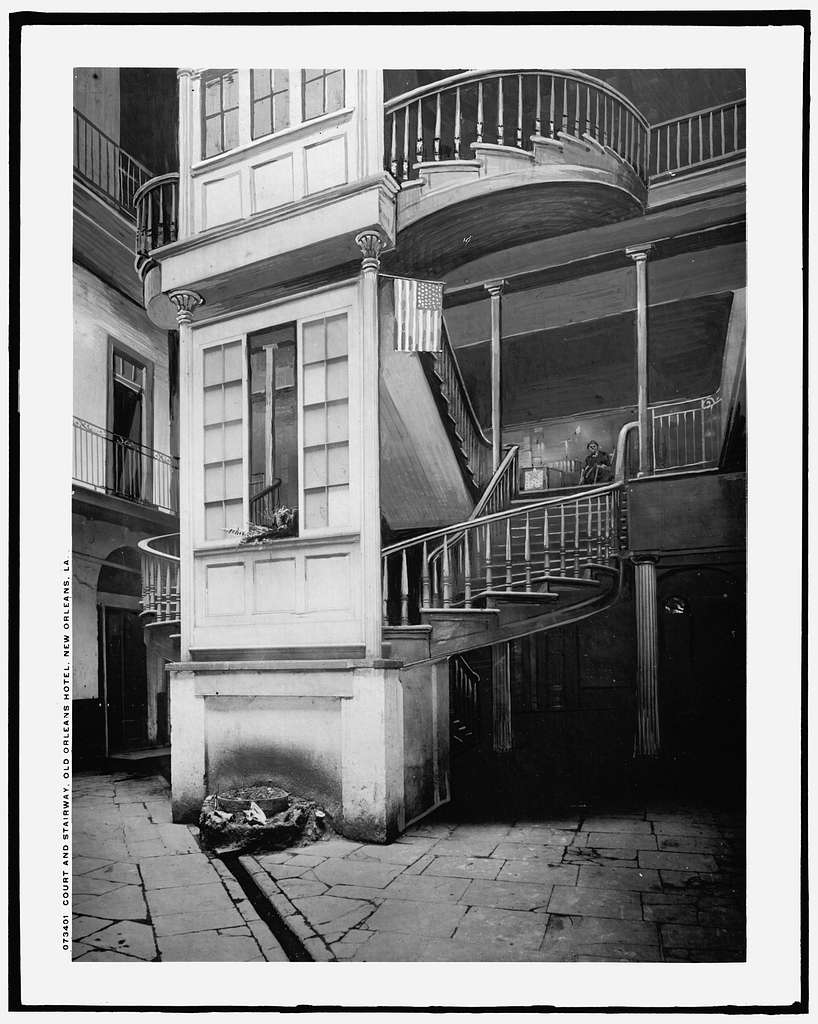 Court and stairway, Old Orleans Hotel, New Orleans, La