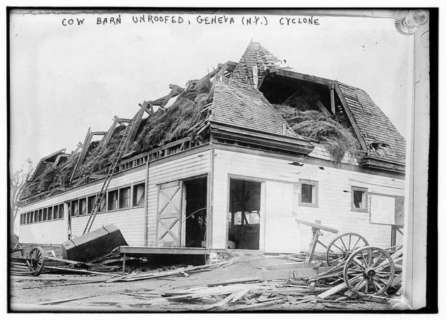 Cow barn unroofed, Geneva, N.Y., Cyclone