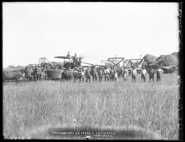 Crew threshing oats on Frank T. Smith farm, Wood River, Hall County, Nebraska.