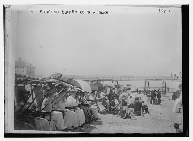 Crowd on beach for motor boat races, Palm Beach