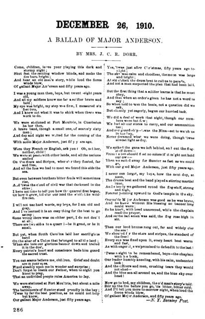 December 26, 1910. A ballad of Major Anderson. By Mrs. J. C. R. Dorr. N. Y. Evening Post. [1910?]
