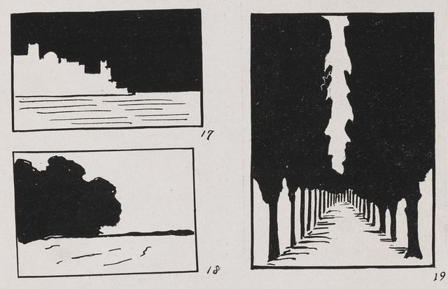 [Diagrams showing perspective, including a road with trees in a symmetrical arrangement of perspective]