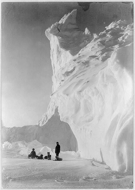 Dog team resting by an iceberg