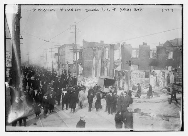 E. Youngstown -- Wilson Ave. -- Showing ruins of Hamony [i.e., Harmony] Bank