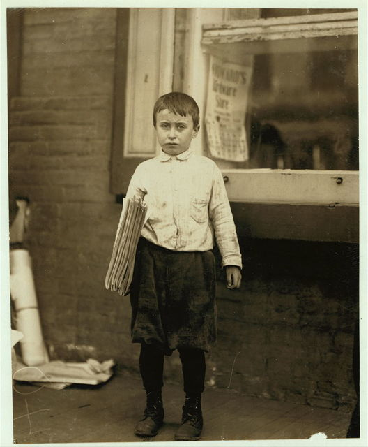 Earl Kelly, 116 E. 2% [i.e., 2nd?] Street. 9 years of age. Selling papers 2 weeks. Average earnings 10 cents per day. Sells from choice. Earnings not needed home. Don't smoke. Visits saloons. On Sunday, May 22d this boy was found on the street at 6 P.M. Edward F. Brown, Investigator.  Location: Wilmington, Delaware / Photo by Lewis W. Hine.