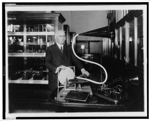 [Emile Berliner, with the model of the first phonograph machine which he invented]