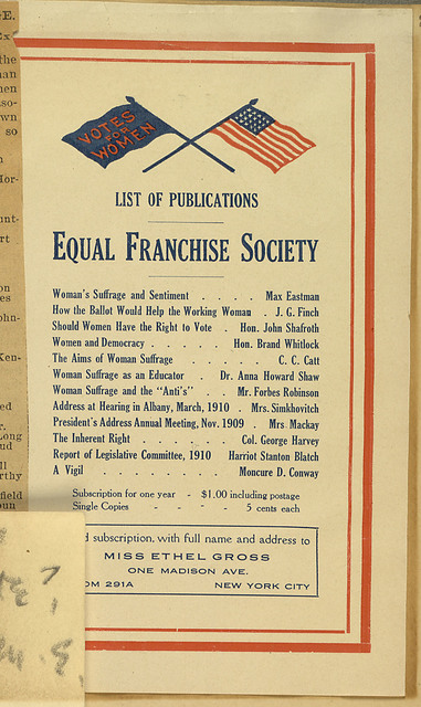 Equal Franchise Society List of Publications