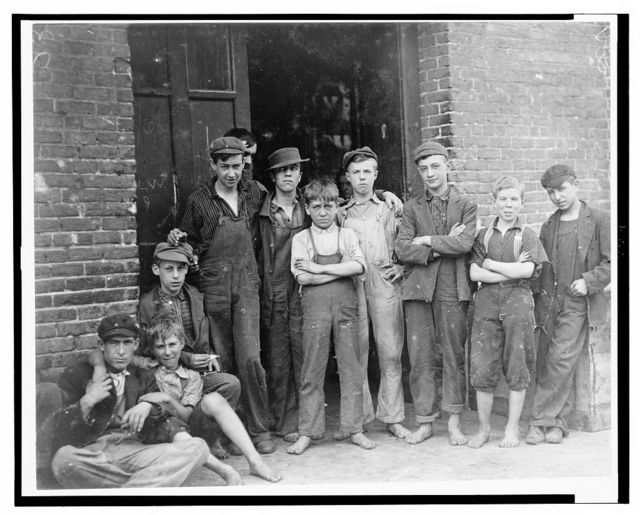 Everyone of these was working in the cotton mill at North Pownal, Vt., and they were running a small force. Dave Noel, Theo. Momeady, 15, working three years. Albert Sylvester, 16, working 1 year; Eugene Willett, 13, working 1 year; Arthur Noel, 15, working 1 year; P. Tetro, 15, working 1 year; T. King, 14, working one year. Clarence Noel 11 working one year.  Location: No[rth] Pownal, Vermont.