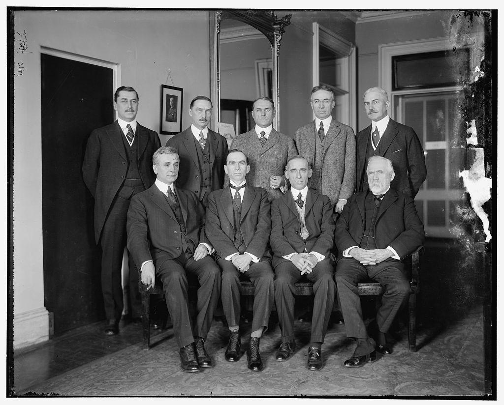 Excess Profits Advisory Board, 1st row, L to R: Hon. C. Hull, Daniel C. Roper, T.S. Adams; 2nd Row: E.T. Meredith, Wallace D. Simmimns, Stuart W. Crammer, J.E. Sterrett, S.R. Beetram