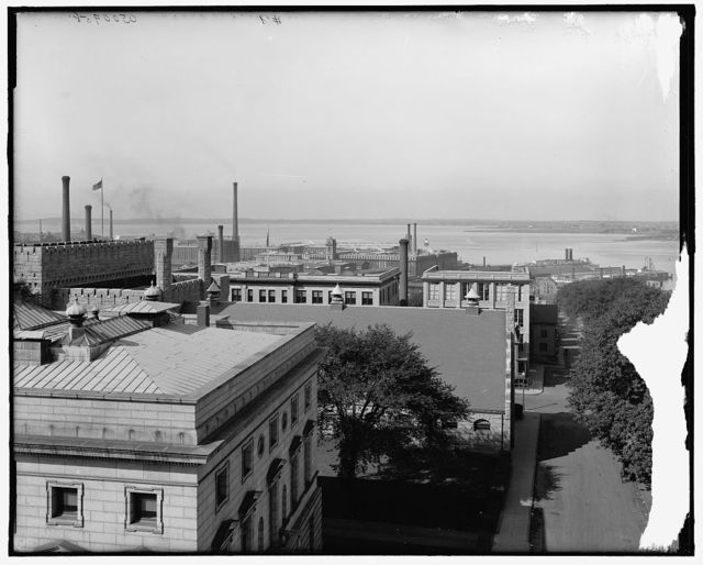[Fall River and Fall River Line boat from roof Hotel (Mellen), Fall River, Mass.]