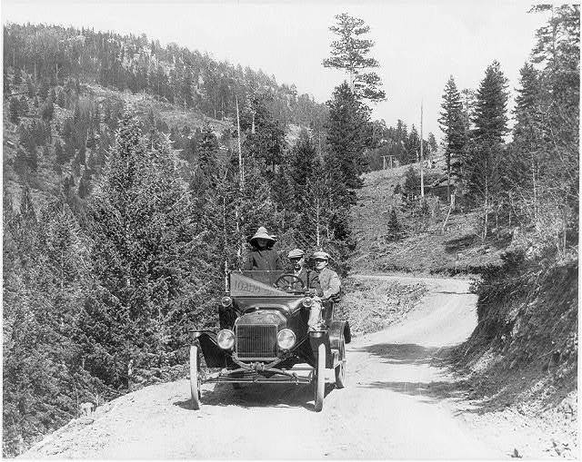 [Ford auto on mountain road near Idaho Springs, Col.]