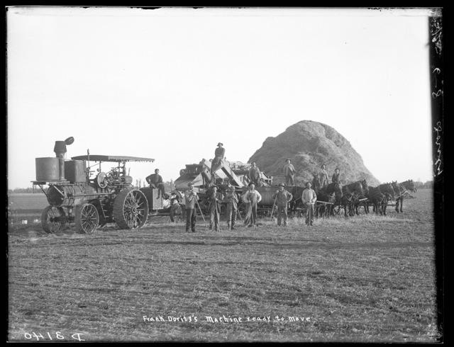 Frank Dority - steam threshing machine ready to move north of Shelton, Buffalo County, Nebraska.