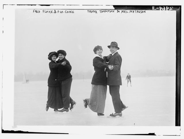 Fred Flake and Flo Coine; Frank Thompson and Mrs. Matheson -- ice skating