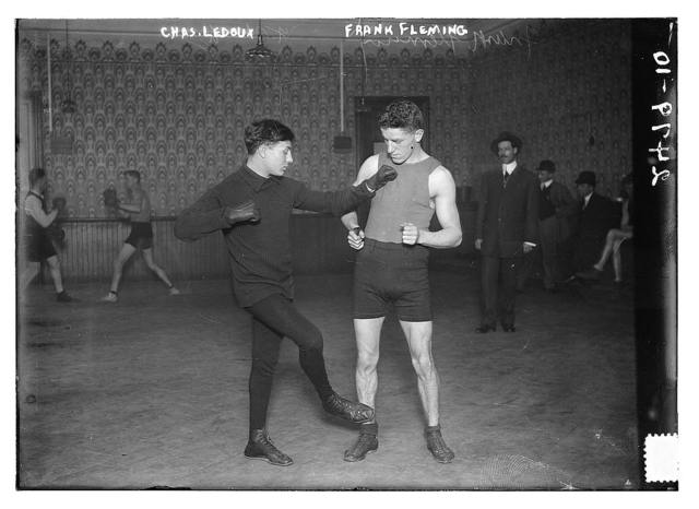 """[French boxer Charles """"Little Apache"""" Ledoux and Frank Fleming]"""